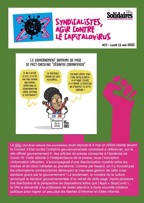 Syndicalistes, agir contre le capitalovirus #15 – Lundi 11 mai 2020